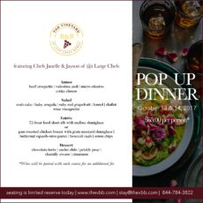 The VBB Pop up Dinner 10-13&14